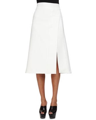 Scuba Crepe Faux-Wrap Skirt