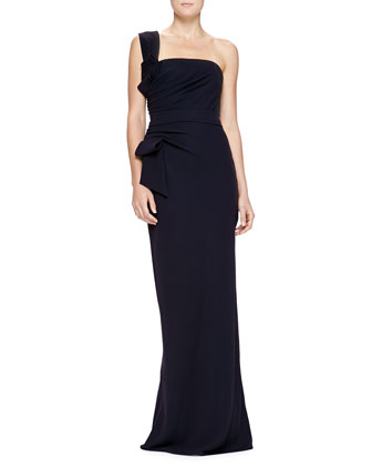 One-Shoulder Ruched Corset Gown