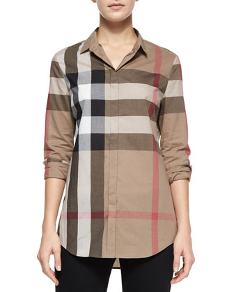 Long-Sleeve Button-Front Check Shirt, Taupe