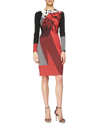 Patchwork Geometric-Print Sheath Dress