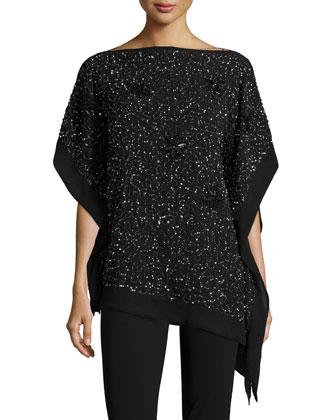 Beaded/Sequined Chiffon Poncho & Straight-Leg Skinny Ankle Pants