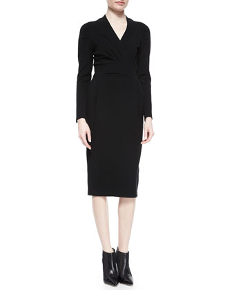 Long-Sleeve Ruched-Shoulder Textured Dress
