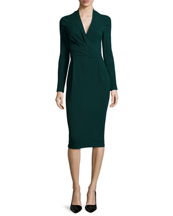 Long-Sleeve Ruched-Shoulder Textured Dress, Bottle Green