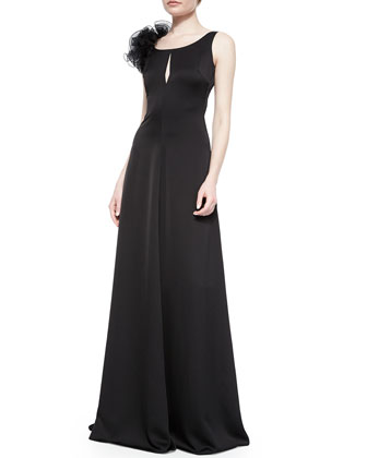 Keyhole One-Shoulder Gown, Black