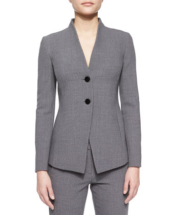 Two-Button Collarless Blazer, Cloud Multi