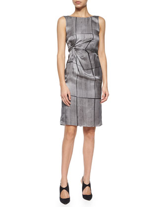 Abstract Grid-Print Silk Dress