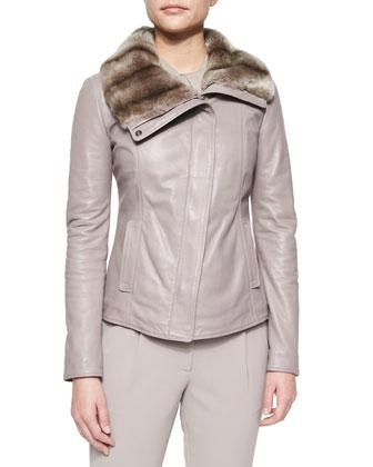 Rabbit Fur-Trimmed Leather Jacket