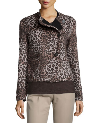 Asymmetric Button-Front Cheetah Jacket, Anacardo Multi