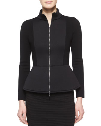 Zip-Front Peplum Jacket & Ribbed Jersey Pencil Skirt