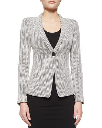 Herringbone Shawl-Collar Blazer