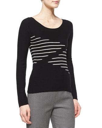 Cashmere-Blend Zigzag Knit Top