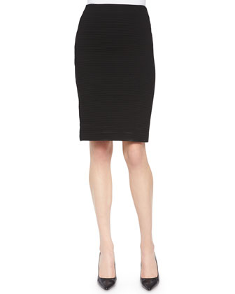 Zip-Front Peplum Jacket & Ribbed Jersey Pencil Skirt