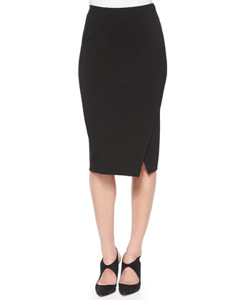 Asymmetric Slit Pencil Skirt
