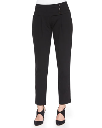 Asymmetric-Button Waist Slim Pants
