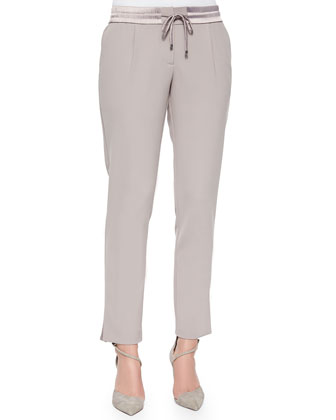 Drawstring Straight-Leg Ankle Pants