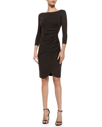 Bateau-Neck Side-Ruched Dress, Chocolate