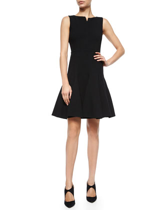 Notched V-Neck Fit-and-Flare Dress, Black