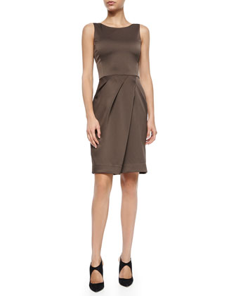 Pleat-Skirt Satin Sheath Dress, Chocolate