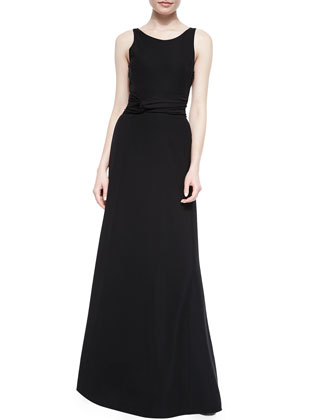 Ruched-Wait Surplice-Back Gown
