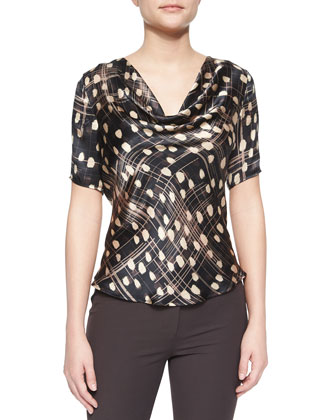 Abstract-Print Cowl-Neck Blouse