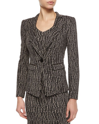 Animal-Print One-Button Blazer & Sheath Dress