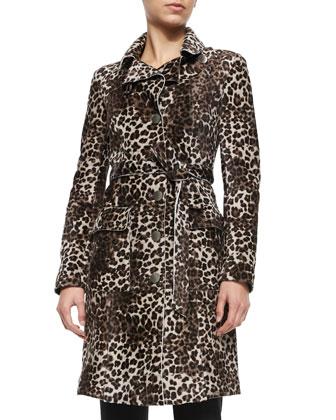 Leopard-Print Shaved Shearling Fur Trenchcoat