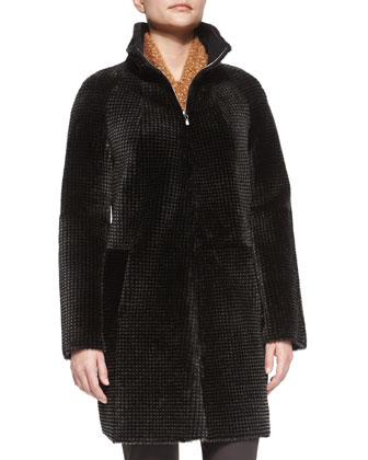 Reversible Grid Pattern Shearling Fur Coat, Slouchy Turtleneck Knit Sweater ...