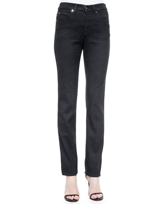 Animal-Embossed Five-Pocket Jeans, Midnight