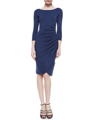Bateau-Neck Side-Ruched Dress, Arles Blue