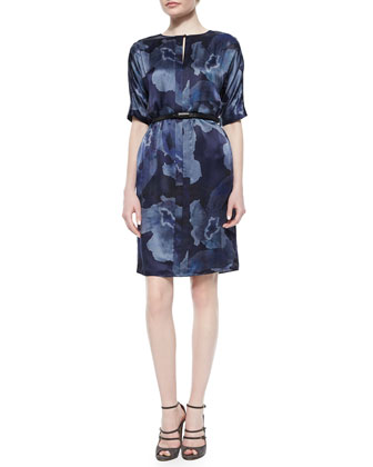 Half-Sleeve Belted Floral-Print Dress, Blue Multi