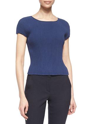 Plisse Georgette Cap-Sleeve Top, Arles Blue