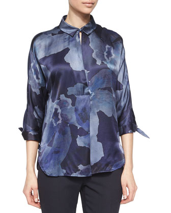 Funnel-Collar Swing Coat, Watercolor-Print Satin Tunic & Slim-Fit Cuffed Pants