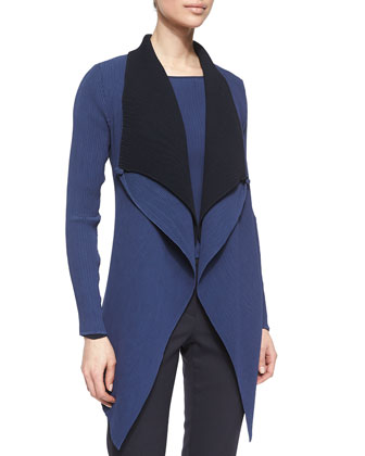 Double-Layer Drape-Lapel Jacket, Arles Blue/Winter
