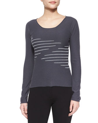 Zigzag Scoop-Neck Knit Top, Dark Gray