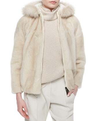 Reversible Mink Jacket with Fox Fur-Trimmed Hood