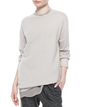 Chiffon-Trimmed Cashmere Jersey Tunic, Dove