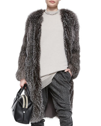 Fox Fur Cashmere-Knit Long Coat, Chiffon-Trimmed Cashmere Jersey Tunic & ...