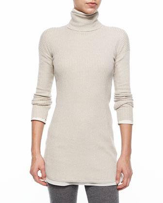 Long-Sleeve Turtleneck Ribbed Sweater, Dove