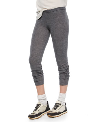 Cashmere-Blend Shimmer Leggings, Charcoal