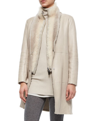 Reversible Shearling Coat w/ Fur Vest, Ribbed Layered Turtleneck Tunic & ...