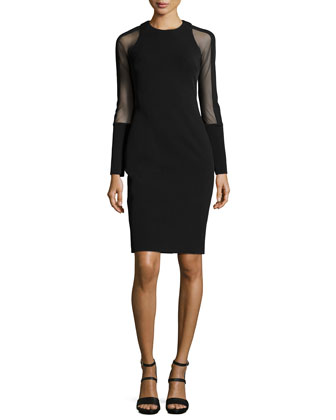 Mesh-Sleeve Sheath Dress