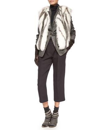 Cashmere Cardigan W/Fox-Fur Collar, Ribbed Layered Turtleneck Tunic & Lamb ...