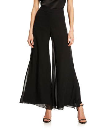 Scoop-Neck Jersey Shell & Georgette Wide-Leg Pants