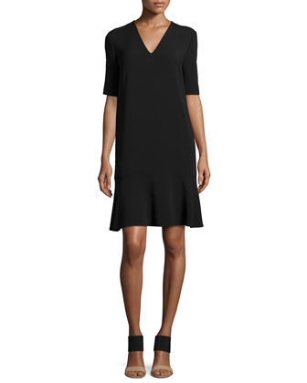 Flared-Hem V-Neck Dress, Black