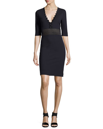 Ric-Rac Half-Sleeve Dress, Midnight