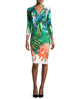 Tropical-Print Long-Sleeve V-Neck Dress