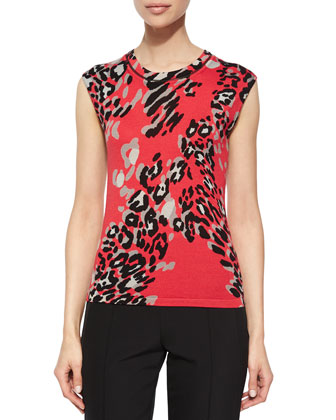 Leopard-Print Cap-Sleeve Top, Multi Colors