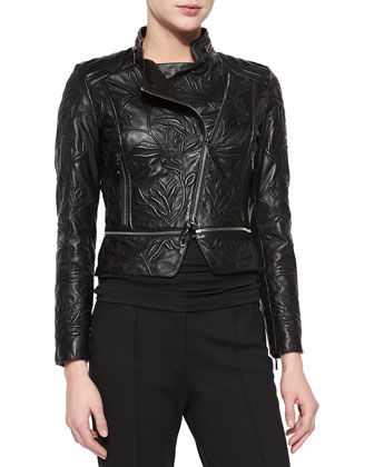 Climbing Flower Cropped Leather Jacket, Black