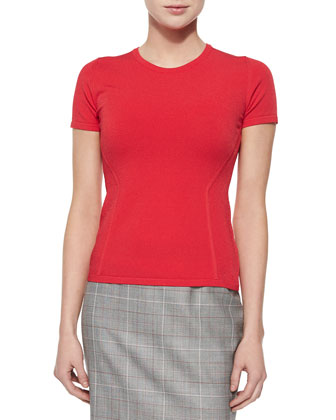 Short-Sleeve Fitted Top, Tivoli Red
