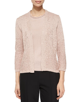 Sequin Yarn Cardigan, Top & Hepburn Slim Stretch Pants
